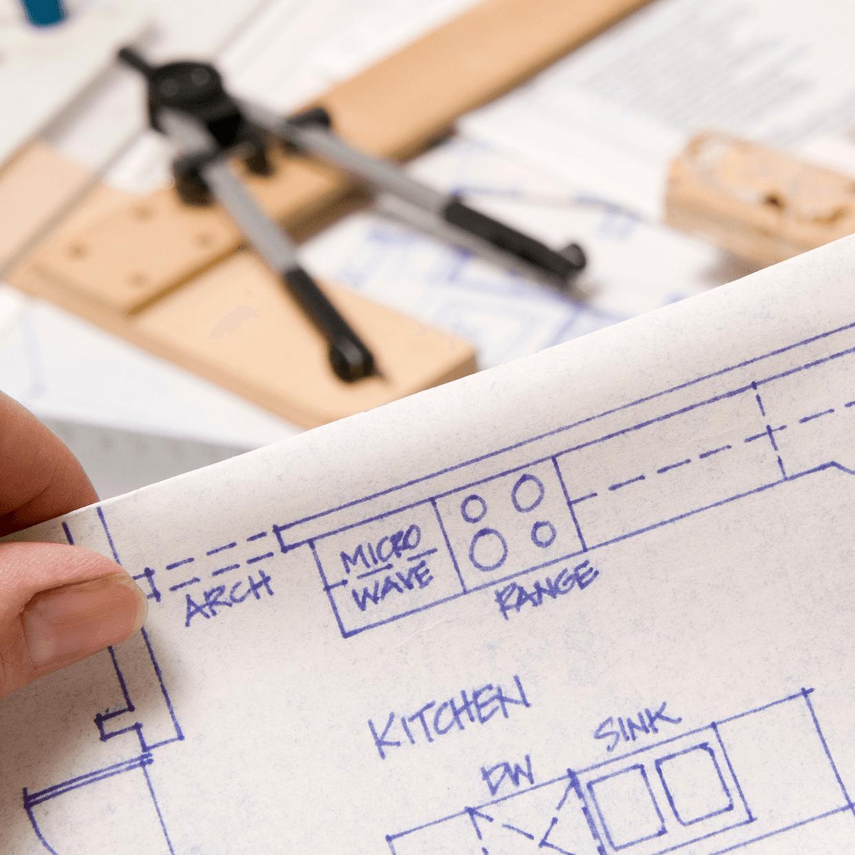 Blueprints of a house under construction.